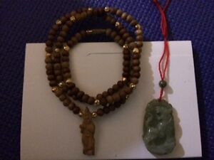 Indian Sandalwood and Chinese Jade Necklace $20 for both