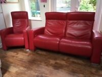Red leather excellent quality sofa and chair- both recline