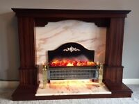 Solid mahogany fireplace surround and Italian marble hearth and back panel