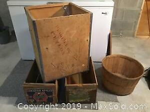 Retro Wooded Crates And Basket