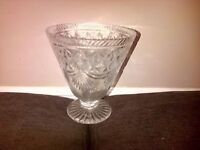 cut glass vase vintage heavy 8 inches high 7 inches wide pick up