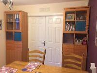 2 wall cupboards Height 219cm, Width 72cm depth 38cm.