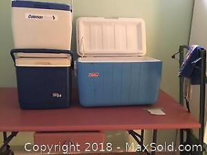 Folding Table, Coolers and Rowing Machine B