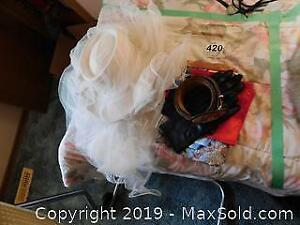 Cowgirl Wedding Hat with Veil, Belt, Scarves A