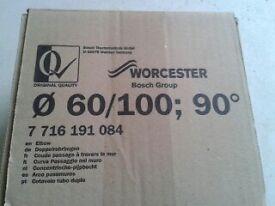 worchester 7716191084, 90 degree flue elbow bend 60/ 100mm. BRAND NEW