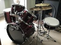 "Mapex Tornado 22"" drum kit with seat, practice pads, full set of spare skins and drumsticks"