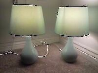 X2 Pretty teal bedside lamps