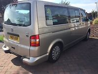 VW T5, manual, 1.9 full MOT, 7 seats, 2 sliding doors, wheelchair access, assisted suspension aircon