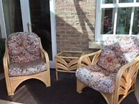 Cane Conservatory Furntiture: 2 chairs and one small table