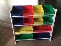 2 x 4 Tier White Child's Storage Unit with Bins.