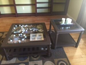 coffee table and matching side table.....wood coffee table
