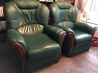 Green Italian leather three-piece suite