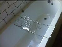 New / Unused Stainless steel bath caddy with bookrest, wine glass and candle holders