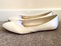 Ivory Satin Bridesmaid Flat Shoes Size 8 From Rainbow Club