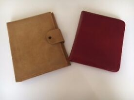 Beautiful leather writing cases/organisers. Reduced to £12 for both. Personal work or meetings.