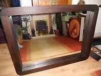 Large Chunky Dark Wood Mirror 119cms x 90cms