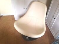 Ikea White Leather Tirup Armchair with Chrome base