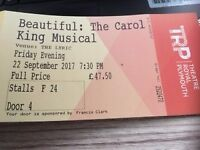 2 Tickets Friday 22nd Beautiful: Carol King Music at Plymouth Theatre Royal cost £95, sell £45 ono