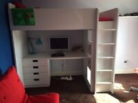 IKEA STUVA LOFT BED WITH DESK, DRAWERS, SHELVING & WARDROBE
