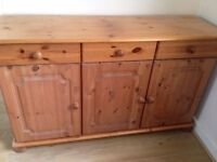 SOLID PINE SIDEBOARD AND DISPLAY UNIT