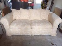 3 piece Suite. Sofa with 2 armchairs. Cream scatter back style.