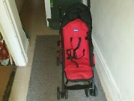 CHICCO RED/BLACK BABY PRAM