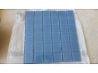 glass mosaic tiles 300 x 300 x 6mm soft pastel blue , 10.5 sq yds