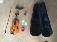 Andreas Zeller 3/4 size violin with 7 accessories