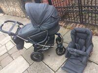 Emmaljunga. Mondial leather 3 in 1 pram pushchair carrycot