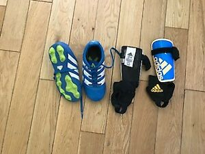 Child's Soccer Shoes (sz 12) and shin pads