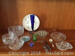 Vintage Assorted Glassware, China And Silver