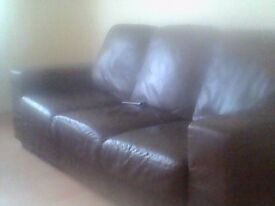 2 and three seater Brown leather settees