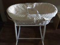 NEW Clair de Lune Moses Basket & Rocking Stand - £30