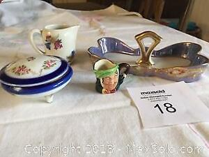 Noritake Spoon Caddy/Jewellery Holder, Trinket Box. Miniature Rosenthal Jug, Miniature Toby Jug - Cat A