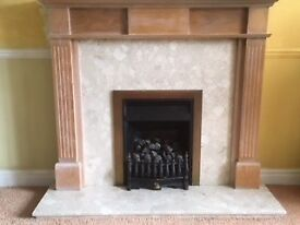 Fire surround and marble back and hearth.
