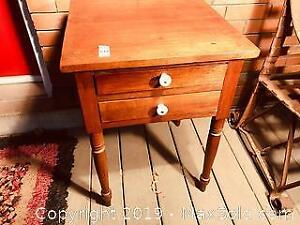 Refinished Antique Solid Maple Two Drawer Candle Table