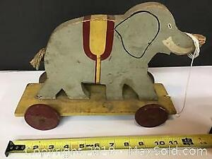Old wooden Elephant Pull Toy