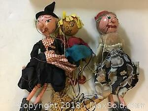 3 Very Old Wood Puppets Marionettes Pelham England