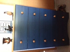 Like New Blue/Wood Accent Bedroom Set - Lacombe