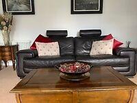 Italian Leather Sofa, 2 x Arm Chairs & Puffet