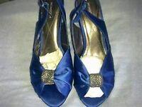 Sandal with heel Royal Blue Metallic Monsoon