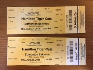 Two Hamilton Tiger-Cats tickets for Aug 23
