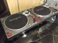 "pair of dj decks turntables record decks sony and 50 x house 12"" vinyl records"