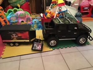 Toy Track (Hummer ) with Trailer and Motorcycle with Remote Cont