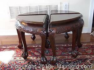 Antique hand-carved Chinese table converted to stools