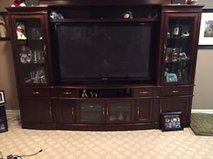 Dark wood entertainment unit