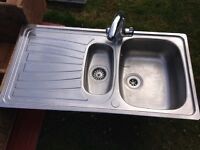"""""""one and a half bowl"""" stainless Sink & tap"""