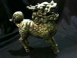 VINTAGE-CAST IRON GREEN CHINESE FOO DOG-IMPERIAL GUARDIAN LION