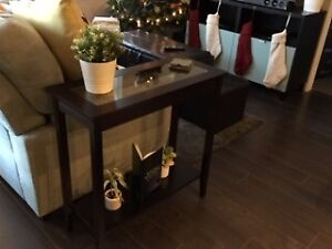 GLASS TOP WOODEN SOFA CONSOLE TABLE