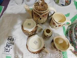 Enesco Japan 1980 Owls seven pieces Tea Set